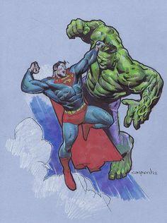 #Hulk #Fan #Art. (Superman VS Hulk) By: Cary Nord. (THE * 5 * STÅR * ÅWARD * OF: * AW YEAH, IT'S MAJOR ÅWESOMENESS!!!™)[THANK Ü 4 PINNING<·><]<©>ÅÅÅ+(OB4E)