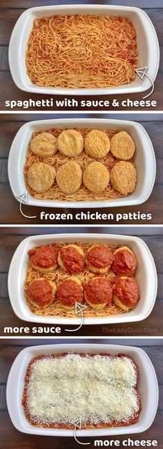 Lazy Chicken Parmesan Baked Spaghetti - The Lazy Dish - - This quick and easy dinner recipe is perfect for large families. It's also made with just 5 simple and cheap ingredients. If you're looking for simple week-night meals, this one is a keeper! I Love Food, Good Food, Yummy Food, Gordon Ramsay, Baked Spaghetti, Smitten Kitchen, Quick Meals, Easy Dinner Recipes, Simple Recipes