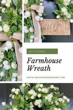 How to Make a Farmhouse Wreath   Grace Monroe Home - Wreath Tips, Tricks & Tutorials Small House Decorating, Farmhouse Style Decorating, Porch Decorating, Decorating Tips, Farmhouse Decor, Wreath Ideas, Diy Wreath, Wreaths, Fixer Upper Decor