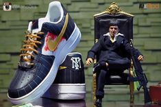 """Nike Air Force 1 Low """"Scarface"""" Customs by Renan Lingan Nike Boots, Nike Air Shoes, Nike Shoes Outlet, Air Force One Shoes, Nike Air Force Ones, Best Sneakers, Sneakers Fashion, Fresh Shoes, Vintage Nike"""