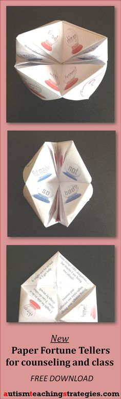 This set of paper fortune tellers uses CBT principles. Two children using it together help each other deal with anxious feelings and the automatic negative thoughts underlying them. Tags: CBT, children, therapy game.