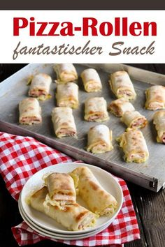 Pizza snack rolls, pizza dough filled with cheese and salami or ham, great . - Pizza snack rolls, pizza dough filled with cheese and salami or ham, super delicious for every occa - Pizza Snacks, Snacks Für Party, Vegan Snacks, Pizza Recipes, Gourmet Recipes, Snack Recipes, Delicious Snacks, Pizza Food, Healthy Recipes