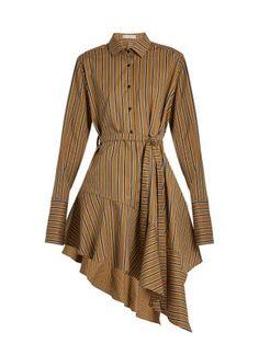 Click here to buy Palmer//Harding Asymmetric-hem striped cotton-blend dress at MATCHESFASHION
