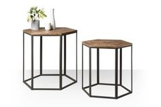 Swoon Editions Side table set, industrial style in charcoal - £169