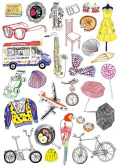 Collection of illustrated objects.
