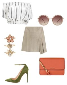 """symmetrical skirt"" by bethanyyk on Polyvore featuring Steffen Schraut, Manolo Blahnik, Faithfull, Linda Farrow, MICHAEL Michael Kors and Accessorize"