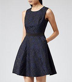 Natalie Blu Blue/black Two Tone Fit & Flare Dress - REISS