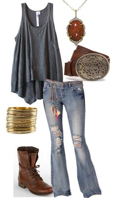 """cute country"" by straight-arow on Polyvore - love the flare jean and the shape of the tank! Try CAbi Spring 13 Farrahs & Easy Tunic or Sunset Tunic :)"