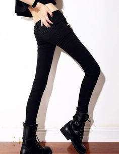 Korean Style Skinny Zipper Stretchable Denim Pant Black--Click the picture can place an order,we support wholesale denim. #shoes #wholesale #fashion #lovely #cheap #Korean #dress #sexy #denim