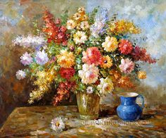 """Gallery Stretched Oil Painting Reproductions Still Lifes Flower Art Painting Bouquet, Size: 24"""" x 20"""", $83. Url: http://www.oilpaintingshops.com/gallery-stretched-oil-painting-reproductions-still-lifes-flower-art-painting-bouquet-1358.html"""