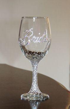 Custom Swarovski crystal BRIDE wine glass 20 oz. by KustomKrystals, $22.99