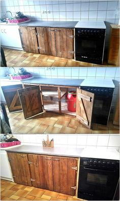 Like the other areas of the home, the kitchen also requires a storage space and some more storage space is needed as there are many items which need to be organized in a kitchen. So, here we have the idea of kitchen storage cabinet we have added in the list of restyling the pallets into something useful.