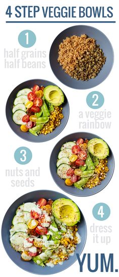 Rainbow Veggie Bowls with Jalapeño Ranch Make 4 Step Veggie Bowls using whatever ingredients you have on hand! (link includes a recipe for Rainbow Veggie Bowls with Homemade Jalapeño Ranch Veggie Recipes, Whole Food Recipes, Vegetarian Recipes, Cooking Recipes, Healthy Recipes, Veggie Bowl Recipe, Lunch Recipes, Yummy Recipes, Recipies