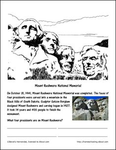 Mount Rushmore worksheet and coloring pages