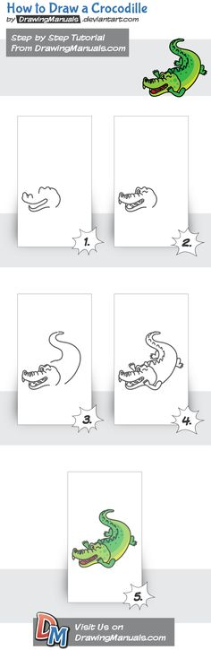 How to Draw a Crocodile Step-by-Step https://itunes.apple.com/app/id1098056720 https://play.google.com/store/apps/details?id=com.aku.drawissimo