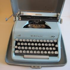 Light Blue Royal Quiet DeLuxe Typewriter by TheSterlingStar