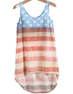 Blue Red Striped Stars Print Dipped Hem Vest pictures