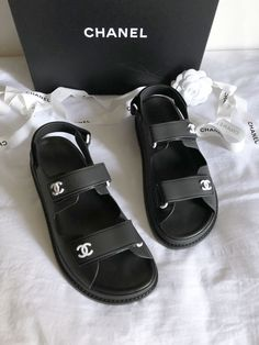 """Chanel """"Dad"""" sandals collection, in a black color. Size Super light and super comfy. Sold out everywhere. Box, dust bags, booklet, copy of receipt. Marie Von Behrens, Sneakers Fashion, Fashion Shoes, Rubber Sandals, Louis Vuitton Shoes, Vuitton Bag, Aesthetic Shoes, Hype Shoes, Chanel Shoes"""