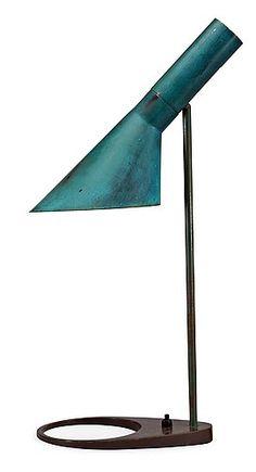 Arne Jacobsen 1960s dark green and dark brown. AJ table lamp by Fritz Hansen, Denmark(7 962)