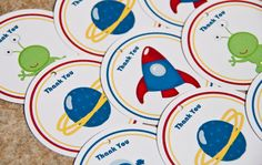 Outer Space Astronaut Birthday Party Favor Tags set of 12 by Belleza e Luce. $5.00, via Etsy.