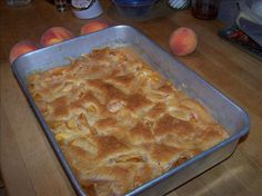 This is the BEST peach cobbler recipe in the world!  Fresh Peach Cobbler from Food.com:   								This recipe was given to me many years ago by Mrs. Orin Stevens of Fargo, ND.  She told me she'd gotten it from a church cookbook.  I've used fresh, frozen and canned peaches with equal success.