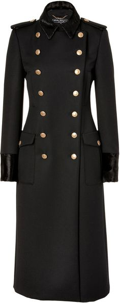 FERRAGAMO Black Doublebreasted Wool Coat with Fur Trim