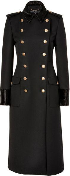 FERRAGAMO MILAN   Black Doublebreasted Wool Coat with Fur Trim