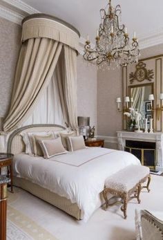 Bedroom of a Parisian apartment which was in built in 1725 - designer, Jean-Louis Denis by fern