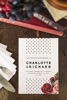 Modern and classy design – Polka dot, floral wedding invitations and stationery, which can be customised with your wording. We can also create the below stationery to match this theme… Save the dates Invitations Inserts – Rsvp, info, gifts Table plans Placecards/tags Table numbers/names Order of service/day Thank you cards