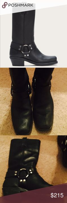 """Black Frye Boots size 7 I bought these 2-3 years ago and I LOVE them and It's very hard to let them go. The only """"flaw"""" I see is the worn sole. See last picture. Black polish or a sharpie would fix it. Size 7 Frye Shoes Heeled Boots"""