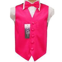 DQT Satin Plain Solide Rose chaud pour homme Pre-Tied Bow tie hanky Mariage Set