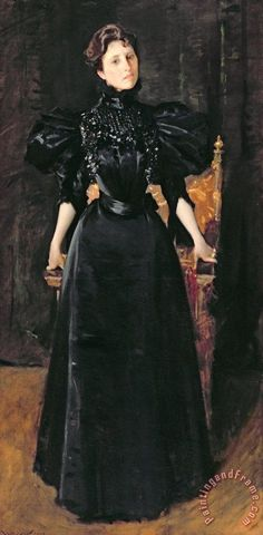 "the-art-of-mourning: ""Portrait of a Lady in Black"", c. 1895, by William Merritt Chase (American, 1849-1916). Source"