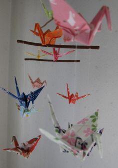 Origami Crane Mobile  Yuzen Washi Chiyogami by makikomo on Etsy, $23.00