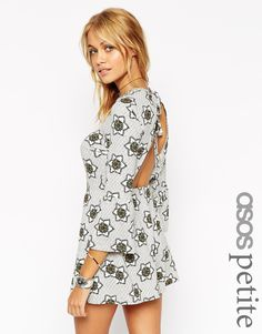ASOS PETITE 70'S Floral Romper with Tie Back Detail