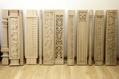 Резные балясины для лестниц из дерева. Carved balusters made from wood for stairs.