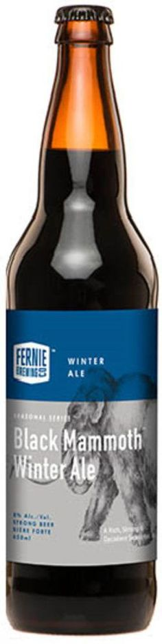 Fernie Black Mammoth Winter Ale (American Strong Ale) • Pours an almost opaque black with a frothy brown head that leaves lots of lacing up the glass. Aroma of chocolate, roasted malts, light citrus and oranges with a touch of vanilla. Taste is vanilla, citrus oranges with a light bitterness, chocolate and a touch of roasted malts... Smooth, complex and balanced... Almost comes off a bit light bodied and cloying with a such a big abv. Great winter ale that's easy to drink.