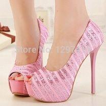 New 2014 women shoes high heel peep toe silver glitter pumps pink - Heels Pink High Heels, Platform High Heels, Pink Pumps, Womens Summer Shoes, Womens High Heels, Unique Shoes, Cute Shoes, Silver Glitter Pumps, Shoe Boots