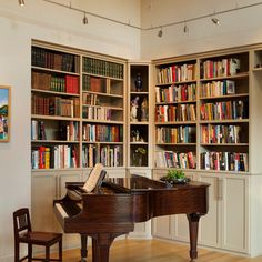 Piano Room and corner library, with piano alcove opening to room for singers and violinists to face their folks and/or audience.