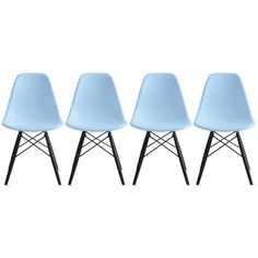 Amazon.com - 2xhome - Set of Four (4) Black - Eames Style Molded Plastic Bedroom Dining Side Ray Chair with Black Wood Eiffel Dowel-legs Base Nature Legs No Side -