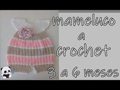 Mameluco, pelele o enterizo tejido a crochet -3 a 6 meses - YouTube Crochet Baby Dress Pattern, Crochet Romper, Crochet Bebe, Crochet Baby Clothes, Crochet Blanket Patterns, Baby Blanket Crochet, Baby Patterns, Crochet Scarf Tutorial, Baby Staff