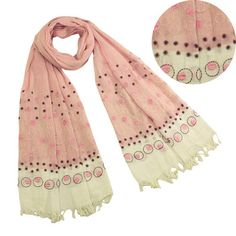 100-Cotton-Embroidered-Polka-Dots-Tassels-Ends-Long-Scarf-Pink