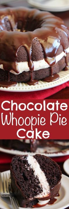 Chocolate Whoopie Pie Cake is a delicious spin on the classic whoopie pie! A dense chocolate cake filled with a soft and pillowy marshmallow filling and drizzled in a chocolate ganache. Good Cake for birthday Chocolate Whoopie Pies, Chocolate Desserts, Cake Chocolate, Chocolate Marshmallow Cake, Chocolate Cake Mix Recipes, Cocoa Cake, Chocolate Muffins, Chocolate Cheesecake, Baking Recipes