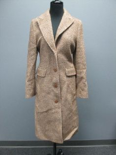 42.98$  Watch here - http://viddi.justgood.pw/vig/item.php?t=jynwoy5772 - KENNETH COLE NEW YORK Brown Cream Tweed Wool Lined Button Up Coat Sz 6 SM4533