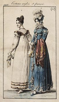 English and French fashions, 1815. The morning dress has back gathers and long sleeves, and like the walking costume, has trim at the hemline and new detail at the upper sleeve.