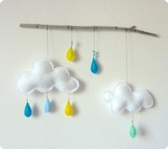 Cloud mobile on branch...Thomas...yellow, light blue,turquoise and mint felt rain drops.