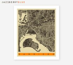 $22 SAN DIEGO Map, Poster, Giclee Fine Art Print, City maps for the Home Decor by Jazzberry Blue