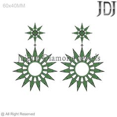Pave Setting Chrome Diopside 925 Silver Starburst Design Dangle Earrings Jewelry #Handmade #DropDangle