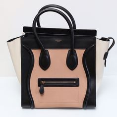 Celine tricolor mini luggage tote Celine Mini luggage tote tricolor in blush black and cream leather.   Purchased at Kirna Zabete in NYC and used only twice. Has remained in dust bag the entire time in pristine condition. Celine Bags Totes