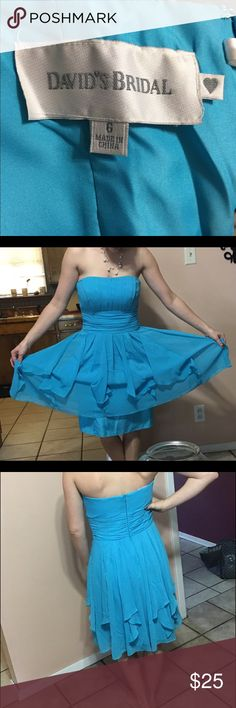 Bridesmaid/formal dance dress Blue dress, worn once in a wedding- in great condition. Has zip up back with inside clasp. Has sheer layering. David's Bridal Dresses Strapless