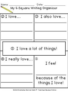 """I Love"" 4-Square Writing Organizer ♥FREEBIE♥ - Corinna Woita - TeachersPayTeachers.com"